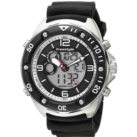 Freestyle Men's FS84946 The Precision 2.0 Analog-Digital Dual Time Watch, Black Polyurethane Band, Round 48mm Case