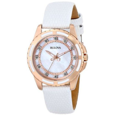 Bulova 98P119 Women's Diamond Analog Display Quartz Watch, White Leather Band, Round 32mm Case