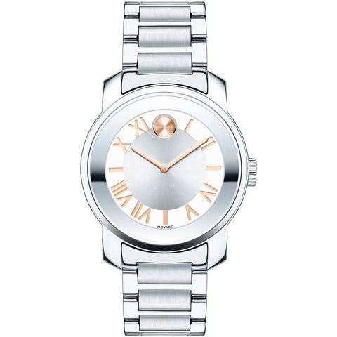 Movado 3600244 Bold Analog Display Quartz Watch, Silver Stainless Steel Band, Round 32mm Case