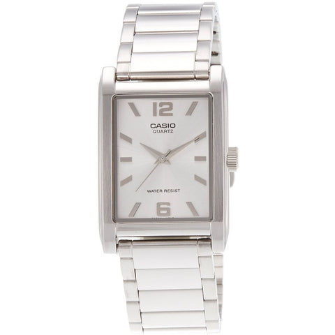 Casio MTP1235D-7A Men's Analog Display Quartz Watch, Silver Stainless Steel Band, Rectangular 28mm Case