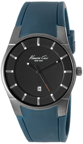 Kenneth Cole 10027724 Men's Analog Display Quartz Watch, Blue Rubber Band, Round 42mm Case