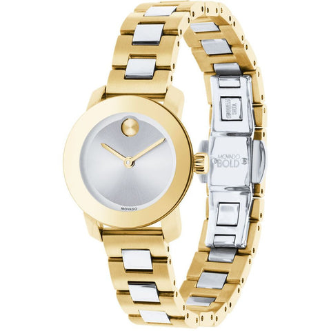 Movado 3600336 Bold Analog Display Quartz Watch, Two-Tone Stainless Steel Band, Round 25mm Case