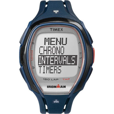 Timex TW5K96500 Ironman Sleek 150 Men's Digital Display Quartz Watch, Blue Resin Band, Oval 46mm Case