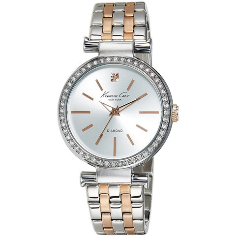 Kenneth Cole 10019277 Women's Analog Display Quartz Watch, Two Tone Stainless Steel Band, Round 36mm Case