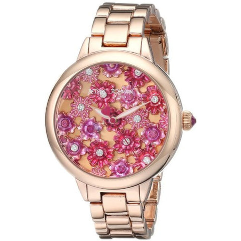 Betsey Johnson BJ00443-02 Women's Analog Display Quartz Watch, Rose Gold Stainless Steel Band, Round 42mm Case