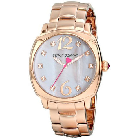 Betsey Johnson BJ00427-03 Analog Display Quartz Watch, Rose Gold Stainless Steel Band, Round 41mm Case