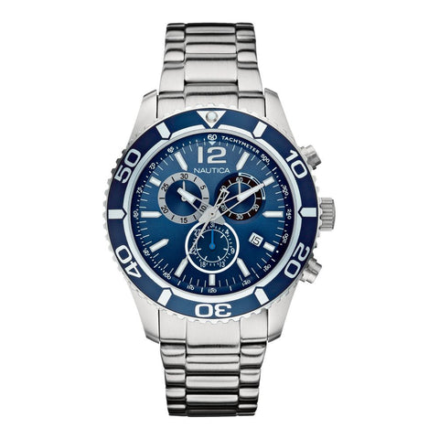 Nautica N16665G NST 09 Men's  Analog Display Quartz Watch, Silver Stainless Steel Band, Round 44m Case