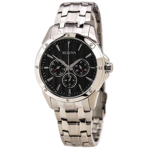 Bulova 96C107 Classic Analog Display Quartz Watch, Silver Stainless Steel Band, Round 43mm Case