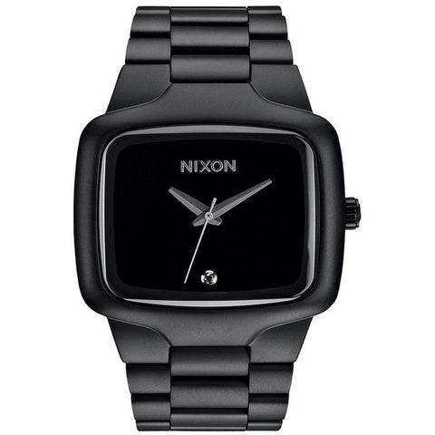 Nixon A487524 Men's Big Player Matte Black Analog Watch, Black Stainless Steel Band, Square 44mm Case