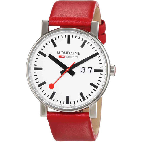 Mondaine A627.30303.11SBC Evo Big Analog Display Quartz Watch, Red Leather Band, Round 40mm Case