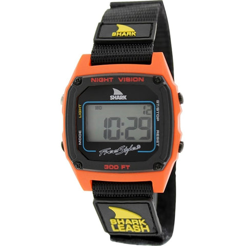 Freestyle Unisex 102244 Shark Leash Red Digital Watch, Black Nylon Velcro Band, Square 38mm Case
