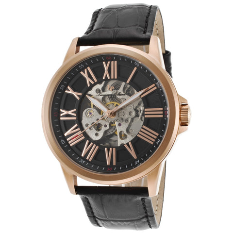 Lucien Piccard LP-12683A-RG-01 Calypso Men's Analog Display Quartz Watch, Black Leather Band, Round 45mm Case