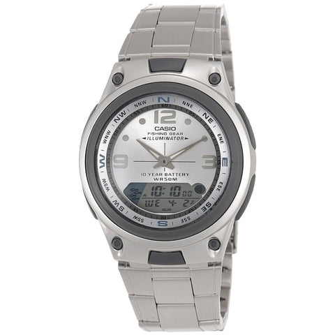 Casio AW82D-7AV Men's Analog/Digital Display Quartz Watch, Silver Stainless Steel Band, Round 40mm Case