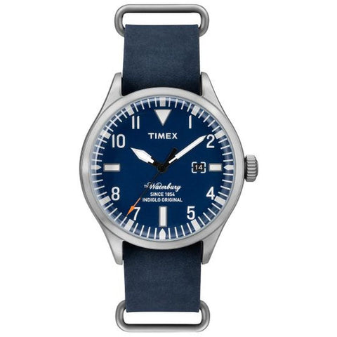 Timex TW2P64500AB The Waterbury Men's Analog Display Quartz Watch, Blue Leather Band, Round 42mm Case