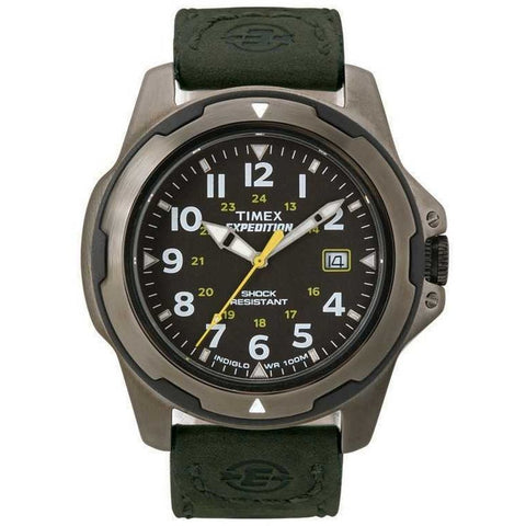 Timex T49271 Men's Expedition Rugged Field Metal Analog Display Quartz Watch, Green Leather Band, Round 40mm Case