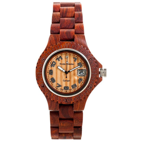 Tense G4100S Sports Analog Display Quartz Watch, Brown Wood Band, Round 43mm Case