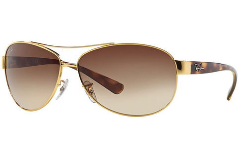 Ray-Ban RB3386 001/13 Sunglasses, Gold And Tortoise Frame, Brown Gradient 63mm Lenses