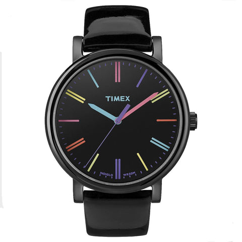 Timex T2N790 Originals Classic Round Analog Display Quartz Watch, Black Leather Band, Round 38mm Case