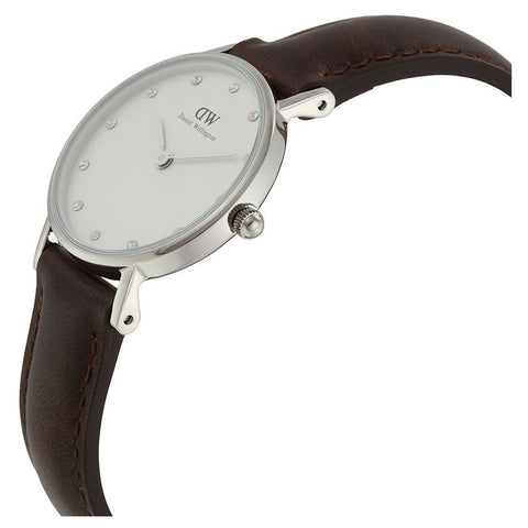 Daniel Wellington 0923DW Classy Bristol Quartz Analog Women's Watch, Dark Brown Leather Band, Silver 26mm Case