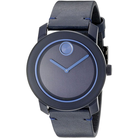 Movado 3600317 Bold Analog Display Quartz Watch, Navy Blue Leather Band, Round 42mm Case
