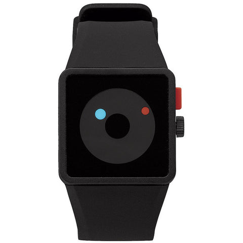 Nixon A116000 Men's Newton Black Analog Watch, Black Silicone Band, Square 38mm Case
