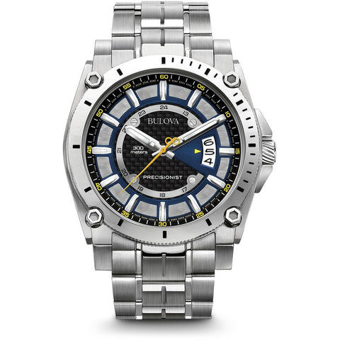 Bulova 96B131 Precisionist Analog Display Quartz Men's Watch, Silver Stainless Steel Band, Round 46.5mm Case