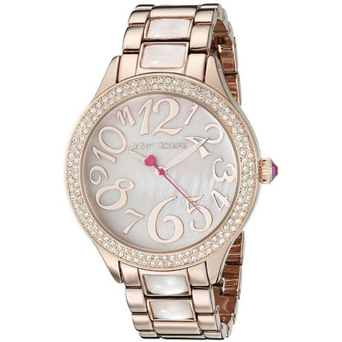 Betsey Johnson BJ00478-01 Women's Analog Display Quartz Watch, Rose Gold Stainless Steel Band, Round 40mm Case