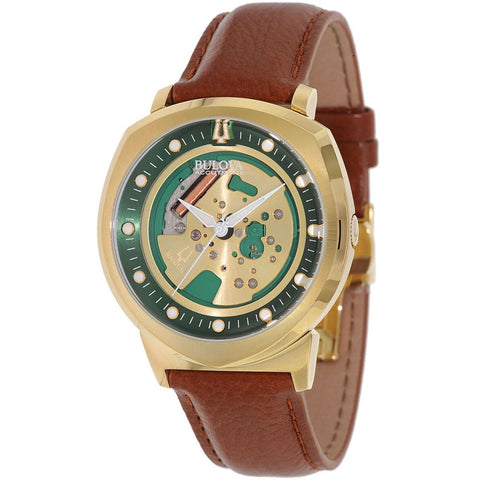 Bulova 97A110 Accutron II Alpha 2014 Collection Analog Display Quartz Watch, Brown Leather Band, Round 42mm Case
