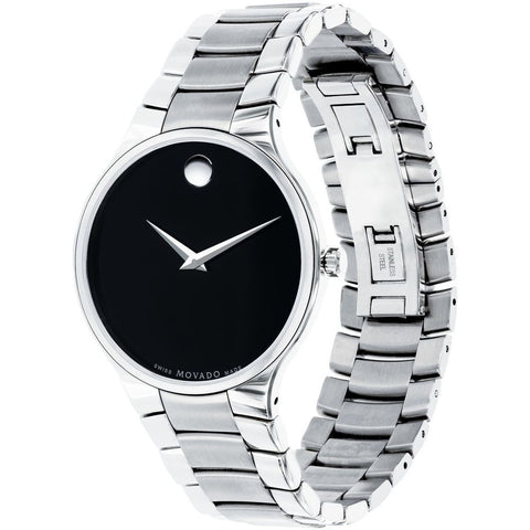 Movado 0606382 Serio Analog Display Quartz Watch, Silver Stainless Steel Band, Round 38mm Case