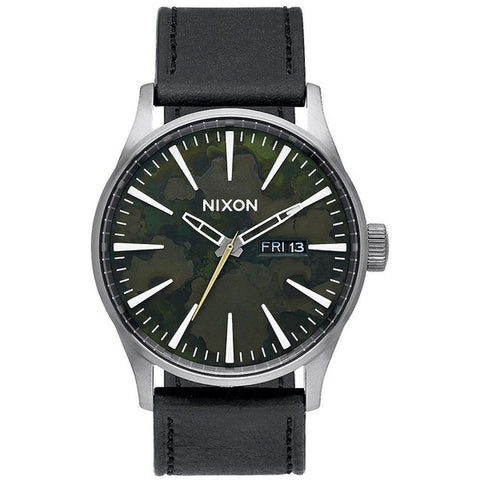 Nixon A1052069 Men's Sentry Leather Gunmetal/Green Oxide Analog Watch, Black Leather Band, Round 42mm Case
