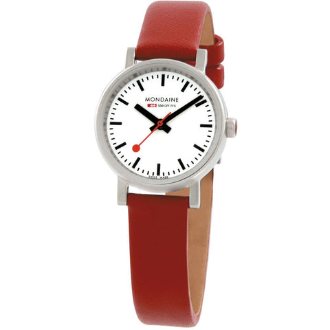 Mondaine A658.30301.11SBC Evo Petite Analog Display Quartz Watch, Red Leather Band, Round 26mm Case