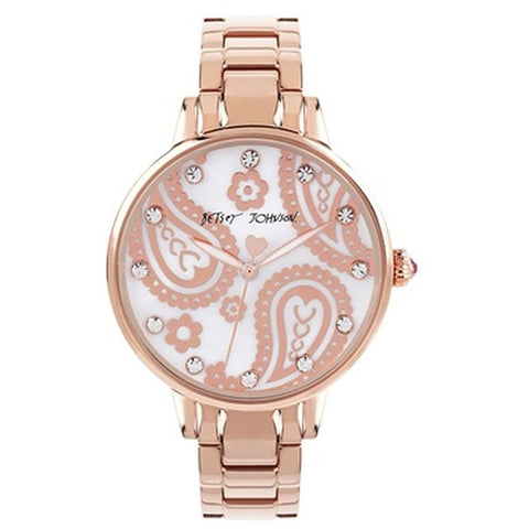 Betsey Johnson BJ00501-28 Analog Display Quartz Watch, Rose Gold Stainless Steel Band, Round 38mm Case