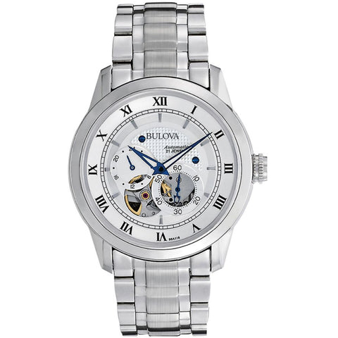 Bulova 96A118 Automatic Analog Display Watch, Silver Stainless Steel Band, Round 42mm Case