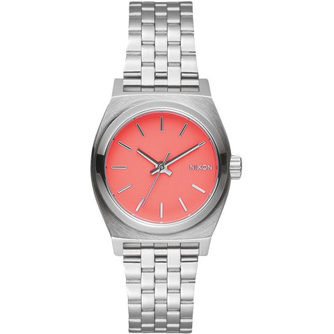 Nixon A3992054 Women's Small Time Teller Bright Coral Analog Watch, Silver Stainless Steel Band, Round 26mm Case