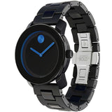 Movado 3600099 Bold Analog Display Quartz Watch, Black TR90 Composite Material and Stainless Steel Band, Round 42mm Case