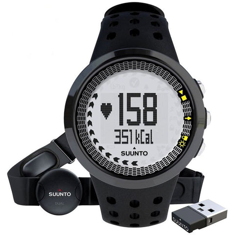 Suunto SS018466000 M5 Unisex Black Digital Display Watch, Black Elastomer Band, Round 43.6mm Case