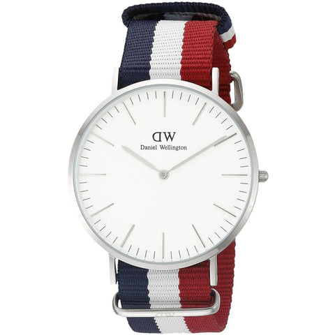 Daniel Wellington 0203DW Cambridge Analog Display Quartz Watch, Striped Nylon Band, Round 40mm Case
