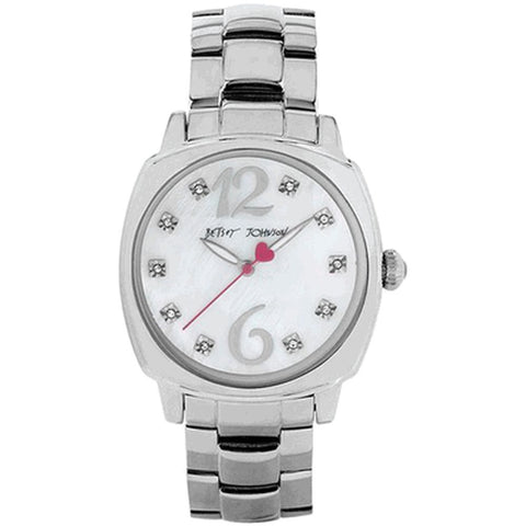 Betsey Johnson BJ00427-01 Analog Display Quartz Watch, Silver Stainless Steel Band, Round 41mm Case