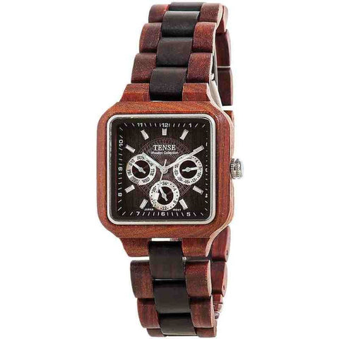 Tense B7305RD-W Summit Analog Display Quartz Watch, Two-Tone Wood Band, Square 40mm Case