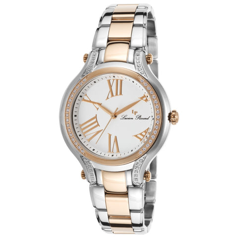 Lucien Piccard LP-16353-SR-22 Elisa Women's Analog Display Quartz Watch, Two-Tone Stainless Steel Band, Round 36mm Case