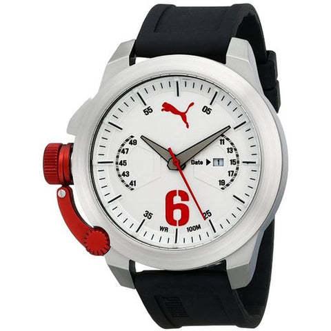 Puma PU103781001 Advance Men's Analog Display Quartz Watch, Black Polyurethane Band, Round 48mm Case
