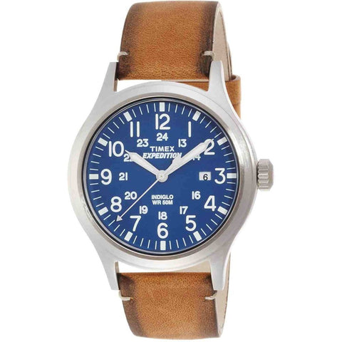 Timex TW4B01800 Expedition Scout Analog Display Quartz Watch, Brown Leather Band, Round 40mm Case