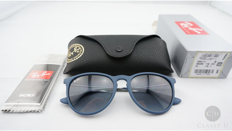 Ray-Ban RB4171 60028G Erika Sunglasses, Blue Frame, Gray Gradient 54mm Lenses