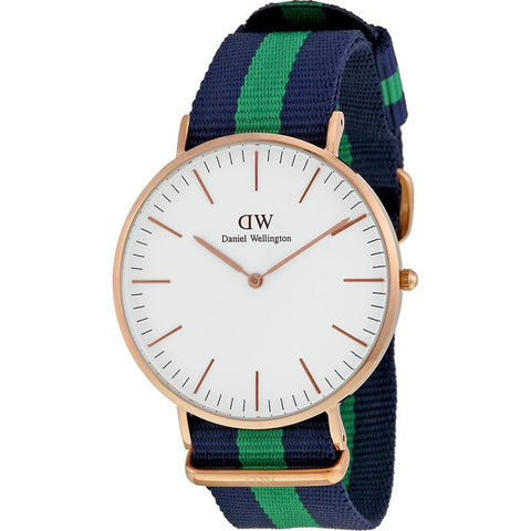 Daniel Wellington 0105DW Warwick Quartz Analog Men's Watch, NATO Nylon Band, Rose Gold 40mm Case