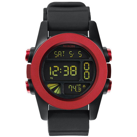 Nixon A1971307 Men's Unit Dark Red/Black Ano Digital Watch, Black Silicone Band, Round 49mm Case