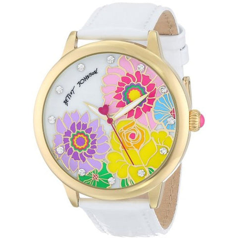 Betsey Johnson BJ00280-12 Women's Analog Display Quartz Watch, White Leather Band, Round 44mm Case