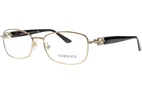 Versace VE 1226B 1252 Eyeglasses, Light Gold Frame, Clear 52mm Lenses