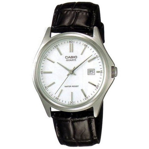 Casio MTP1183E-7A Analog Display Quartz Watch, Black Leather Strap, Round 38mm Case