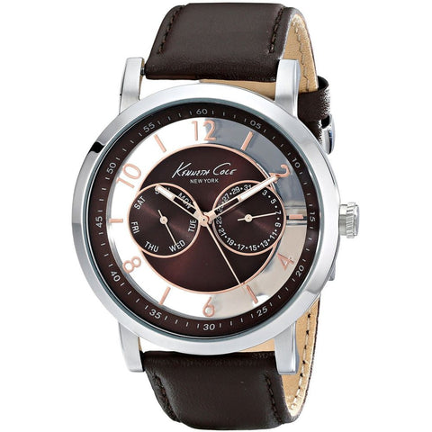 Kenneth Cole KC8080 Transparent Men's Analog Chronograph Watch, Brown Leather Band, Round 44mm Case