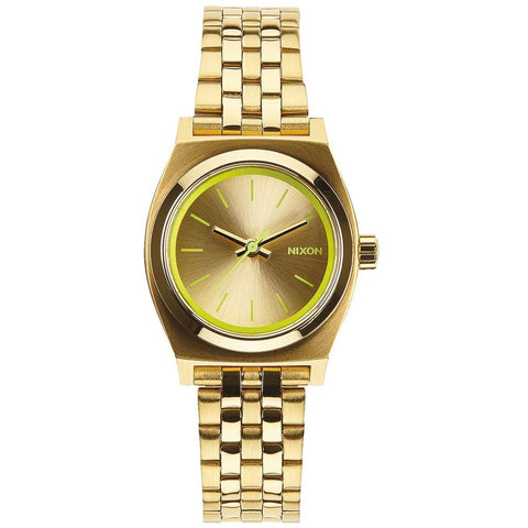 Nixon A3991618 Women's Small Time Teller Gold/Neon Yellow Analog Watch, Gold Stainless Steel Band, Round 26mm Case
